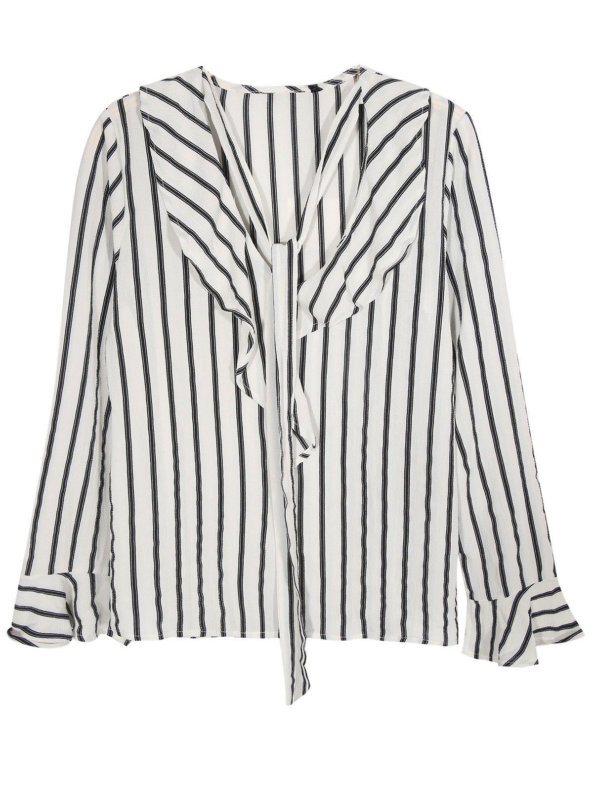 V Neck Tied Volants Striped Blouse - Rayure S