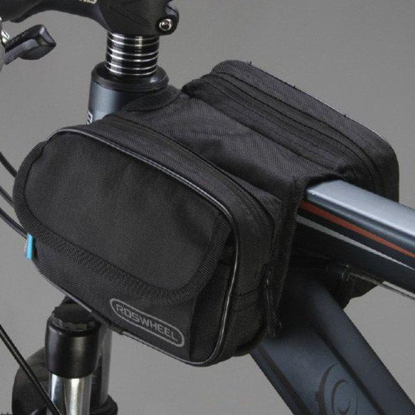 Outdoor Waterproof Front Tube Pannier Cycling Bag - BLACK