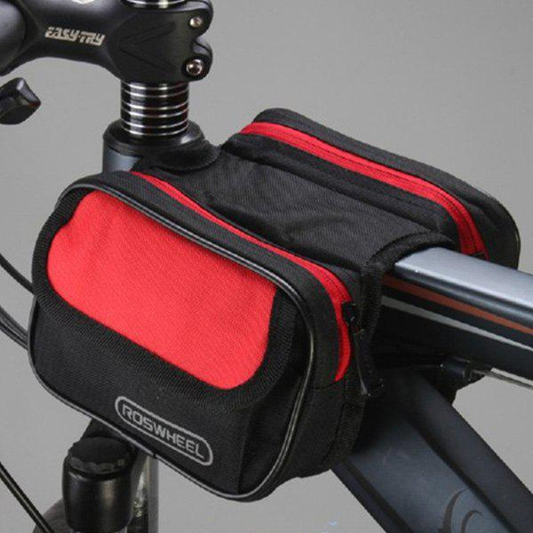 Outdoor Waterproof Front Tube Pannier Cycling Bag - RED/BLACK
