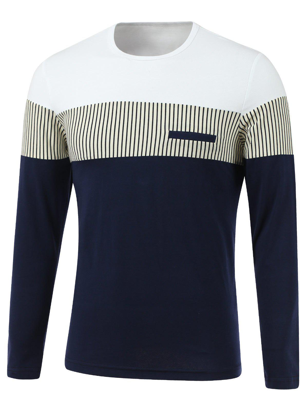 Stripe Spliced Design Round Neck Long Sleeve T-Shirt - WHITE XL