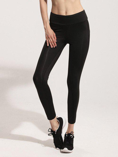 Stretchy Mesh Spliced Yoga Leggings - BLACK S