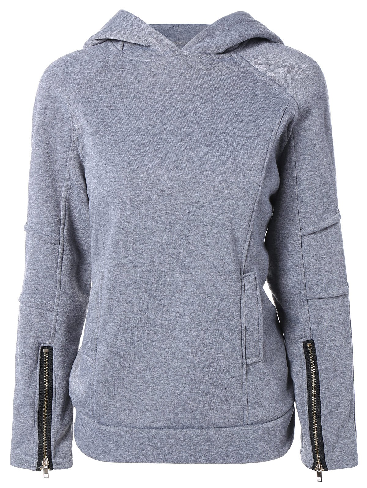 Solid Color Zip Embellished Patchwork Pullover HoodieWomen<br><br><br>Size: M<br>Color: GRAY