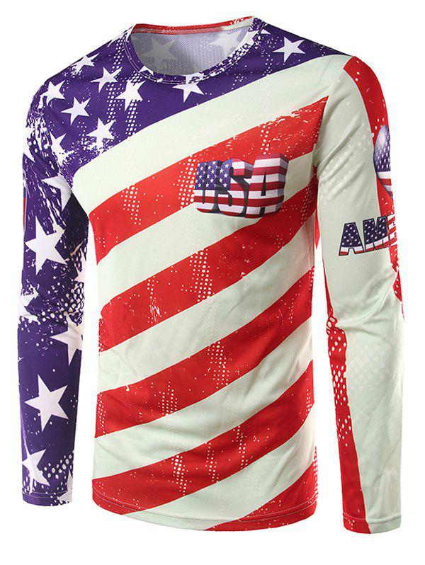 Crew Neck Long Sleeve 3D USA Stars and Stripes Print T-Shirt long mesh sheer slip babydoll page 4