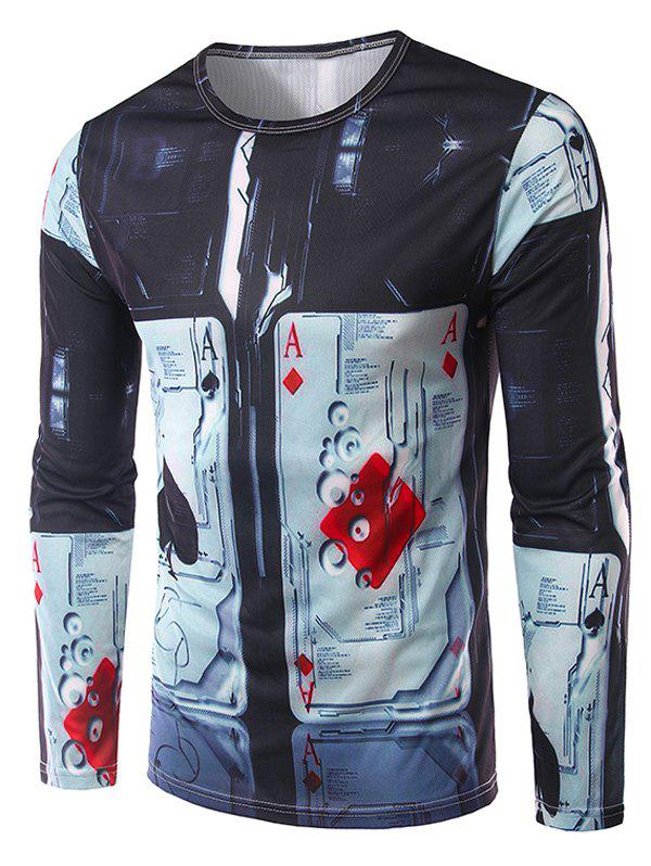 Buy Crew Neck Long Sleeve 3D Abstract Poker Print T-Shirt COLORMIX