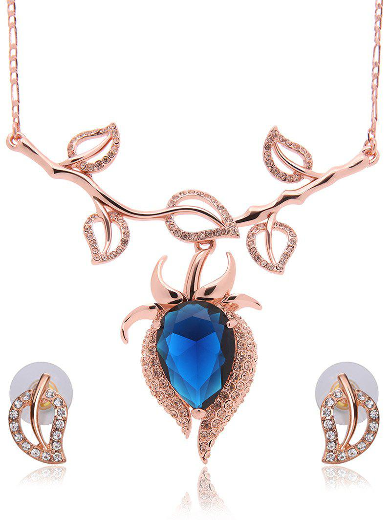 Hollowed Leaf Faux Sapphire Jewelry Set - GOLDEN