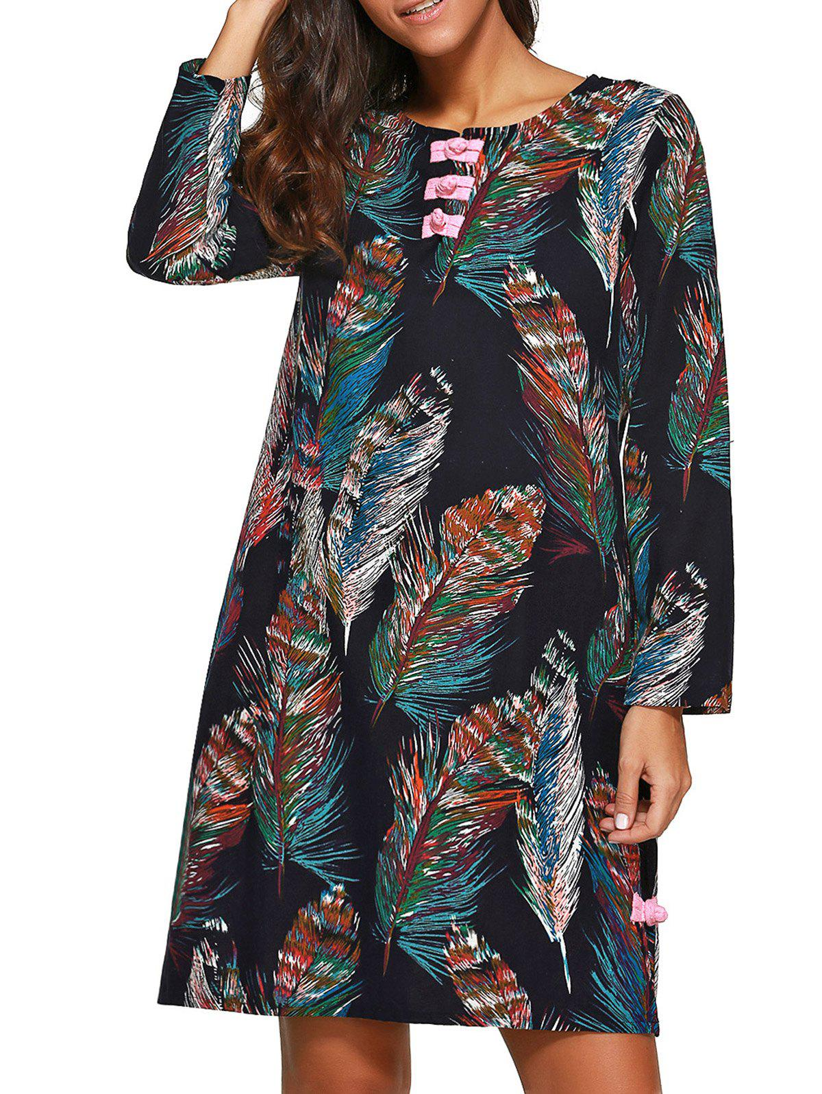 Feather Print Long Sleeves Shift Dress inc new white black women s large l feather print seamed shift dress $79 013
