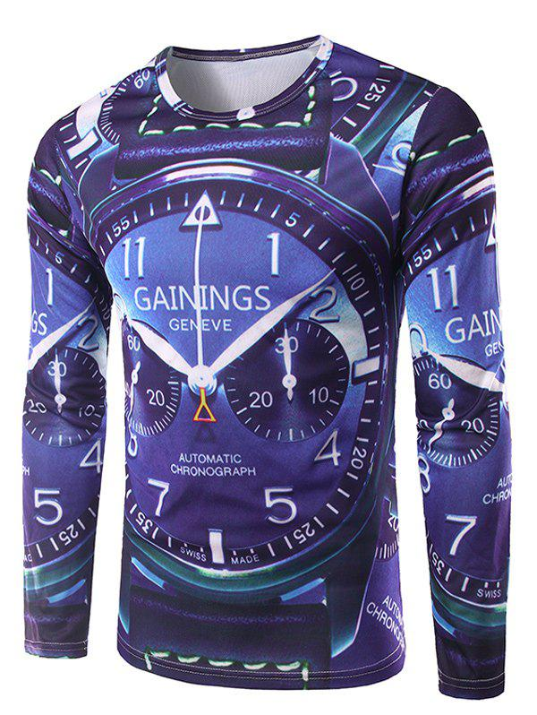 Crew Neck Long Sleeve 3D Watch Print T-ShirtMen<br><br><br>Size: M<br>Color: DEEP BLUE