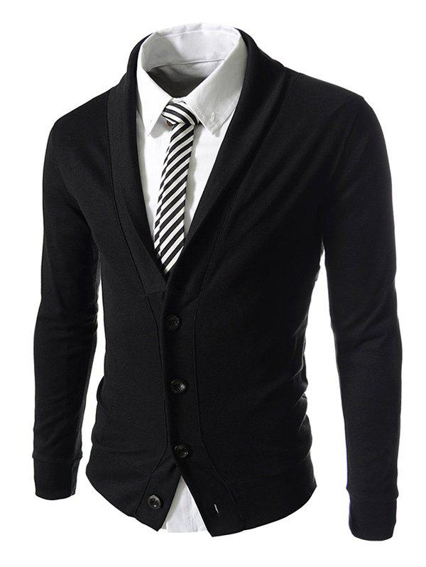 Long Sleeve Button Up Shawl Collar Jacket - BLACK M