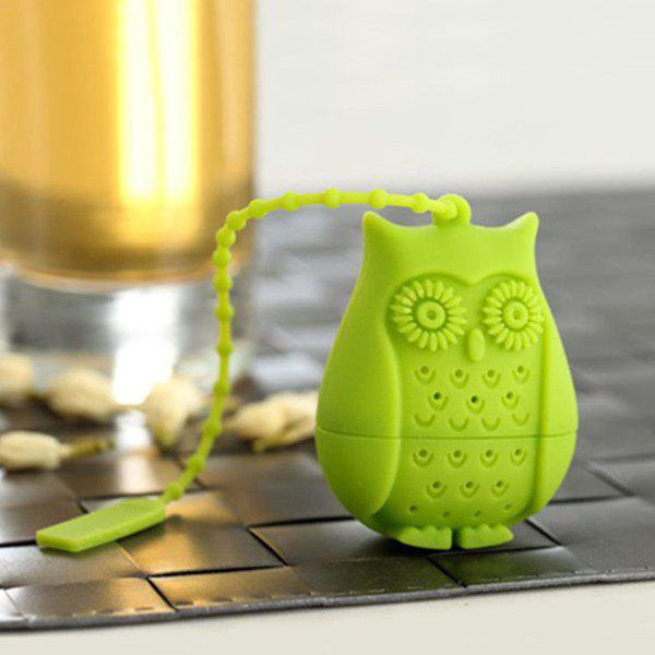 Portable Cartoon Owl Shape Silicon Tea Infuser - GREEN