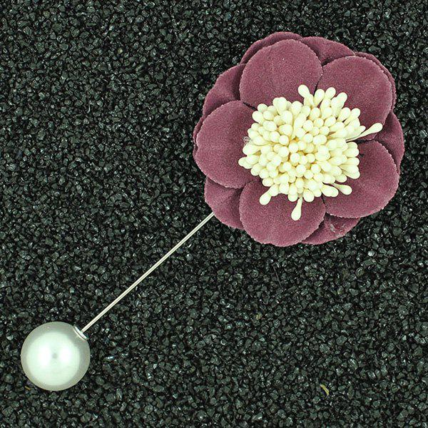 Begonia Flower Faux Pearl Brooch Pin - CLARET