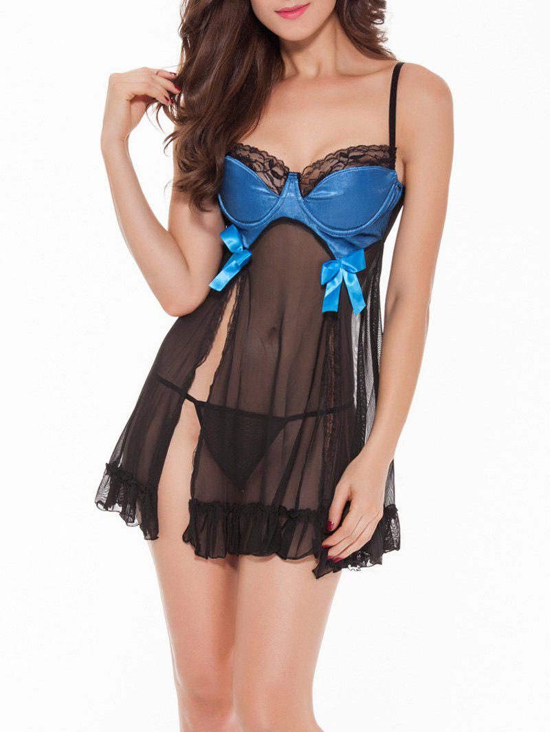 Slit See-Through Bowknot Babydoll - BLUE ONE SIZE