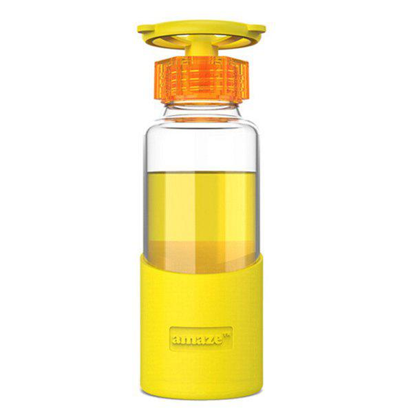 Faucet Portable 360ml Valve Cover en verre transparent de l'eau avec la Silicon Case - Jaune