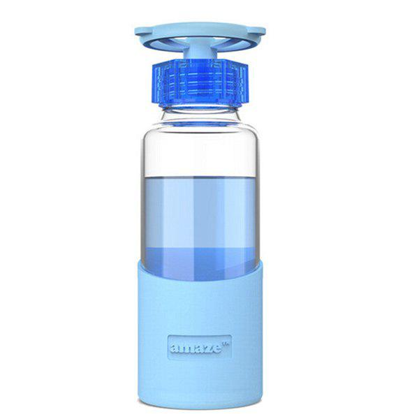420ML Portable Faucet Valve Cover Transparent Water Glass With Silicon Case - BLUE