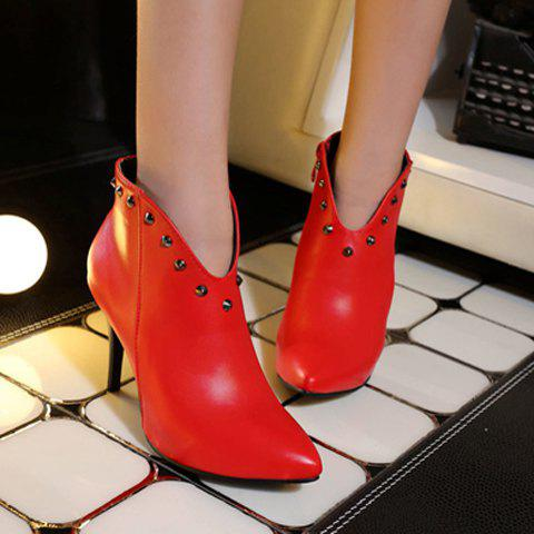 Trendy Pointed Toe and Rivet Design Women's Ankle Boots