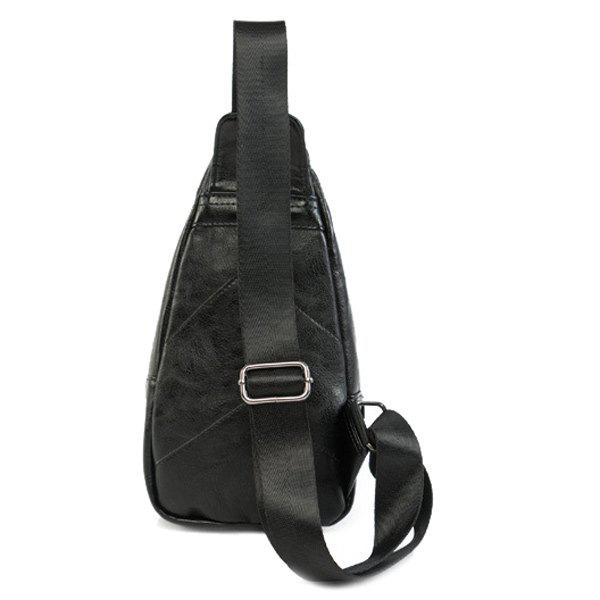 Cell Phone Pocket PU Leather Chest Bag - BLACK