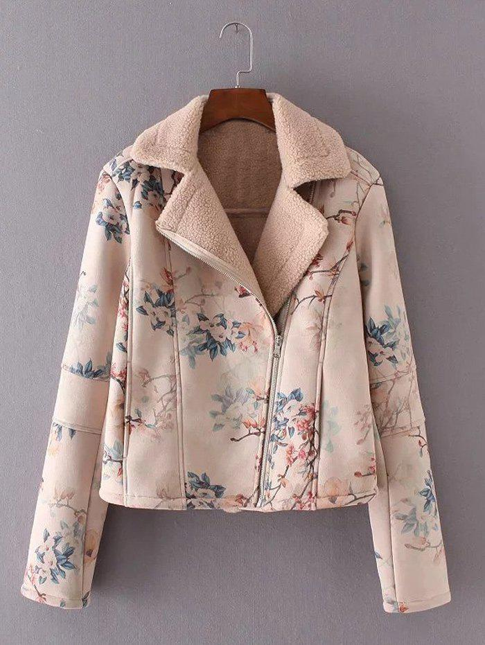 2018 floral print furred jacket pink m in jackets coats online