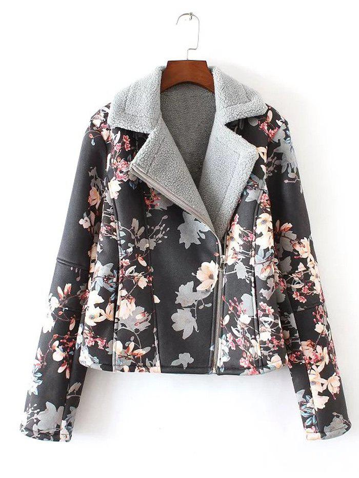 2018 floral print furred jacket black l in jackets coats online