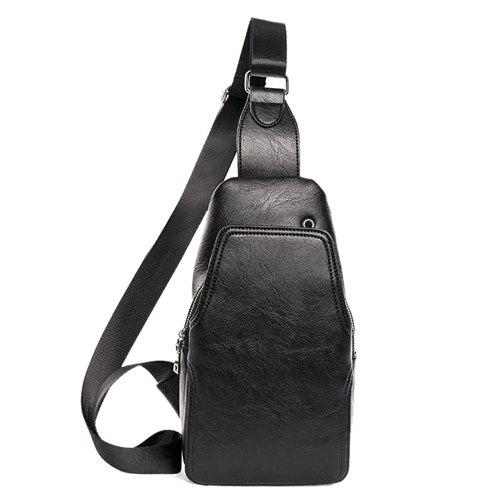 Faux Leather Chest Bag - BLACK