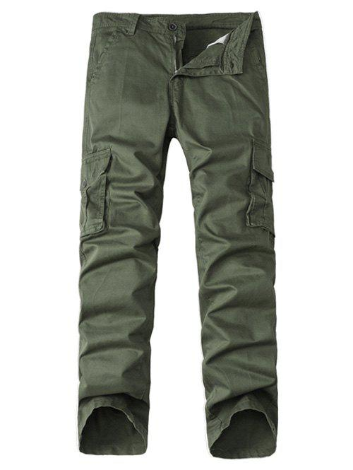 Straight Leg Multi-Pocket Zipper Fly Cargo Pants - ARMY GREEN 36