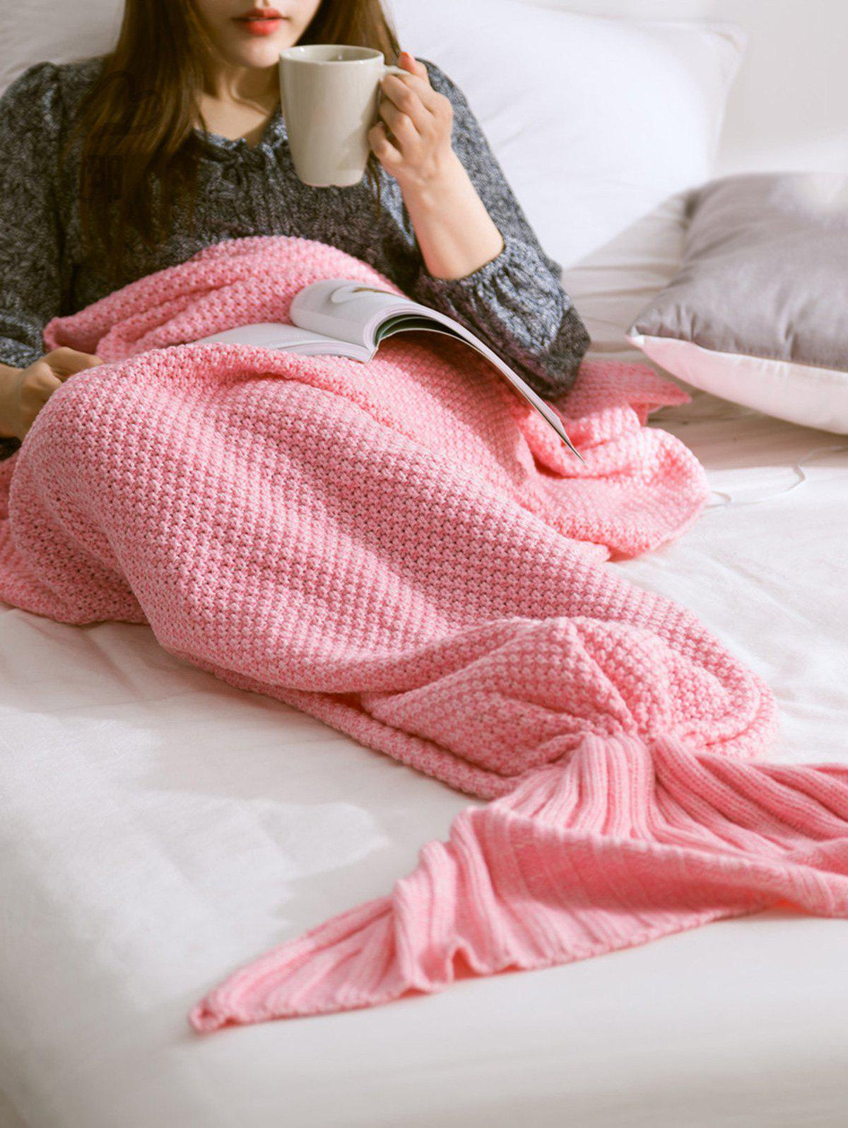 High Quality Soft Warm Knitted Mermaid Tail Blanket - PINK L