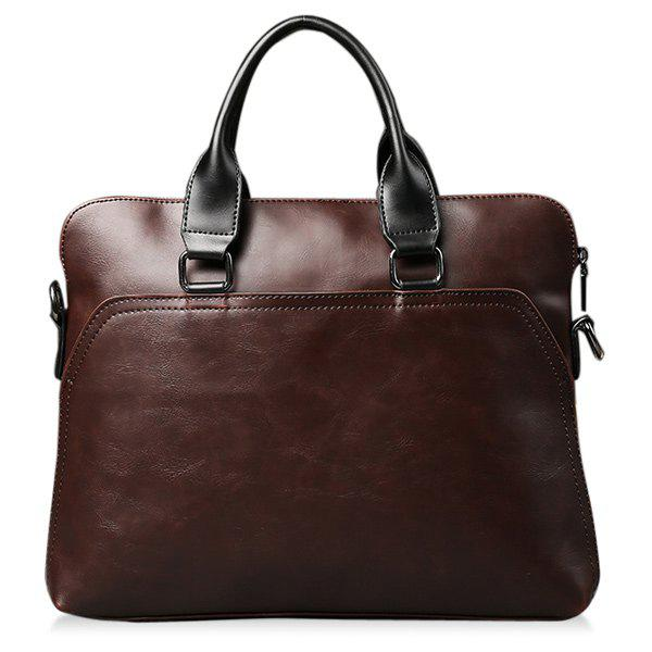 Handbag Faux Leather Briefcase - COFFEE