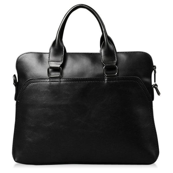 Handbag Faux Leather Briefcase - BLACK