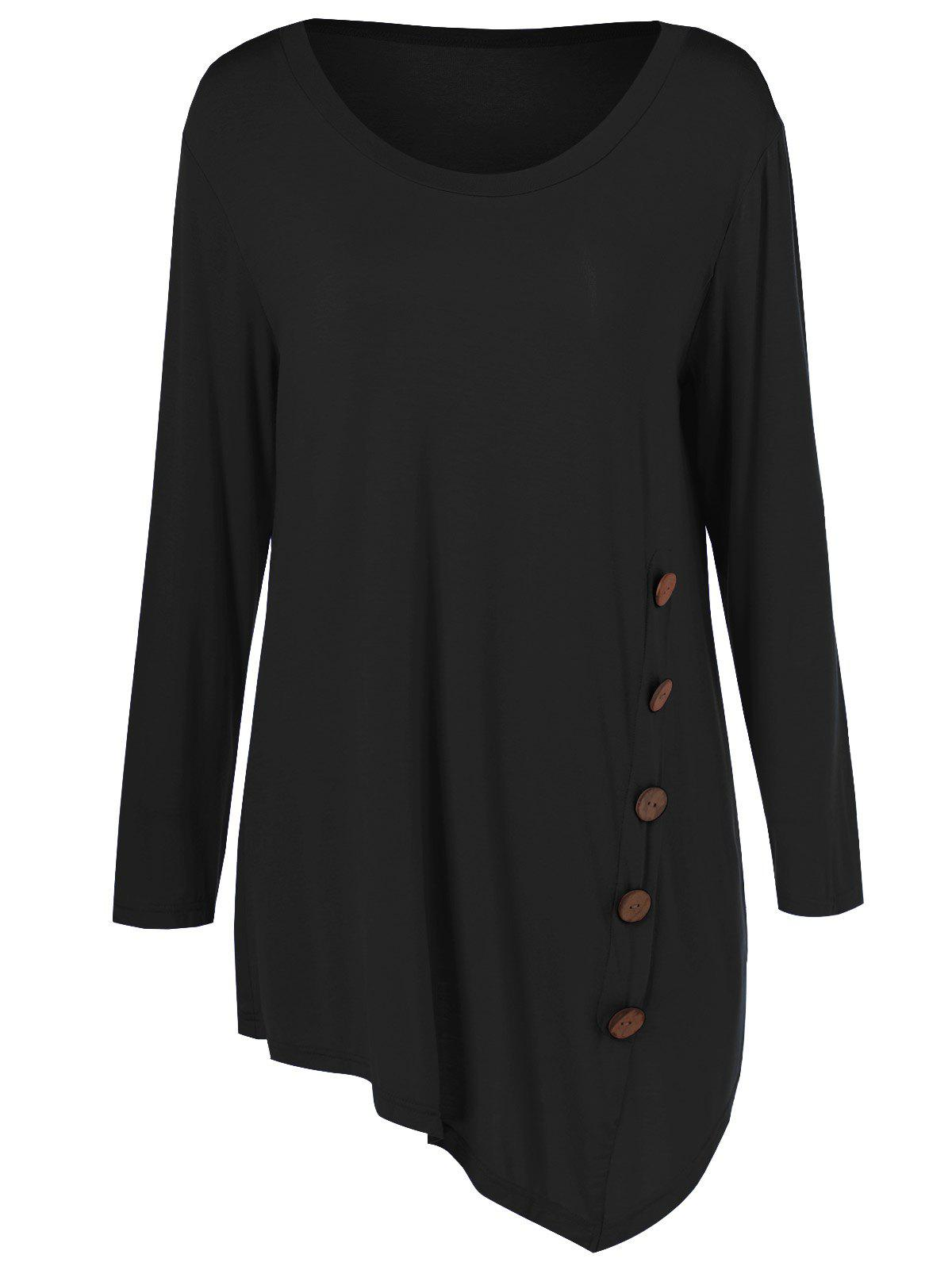 Plus Size Inclined Buttoned Blouse - BLACK 2XL