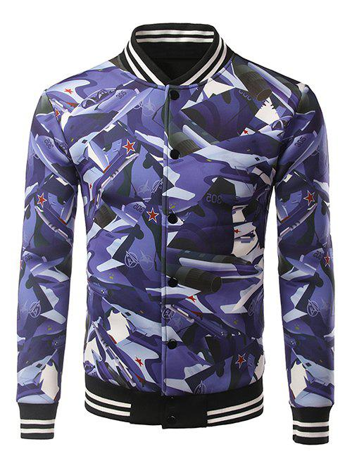 Stripe Splicing Stand Collar 3D Camouflage Warplanes Print JacketMen<br><br><br>Size: XL<br>Color: BLUE
