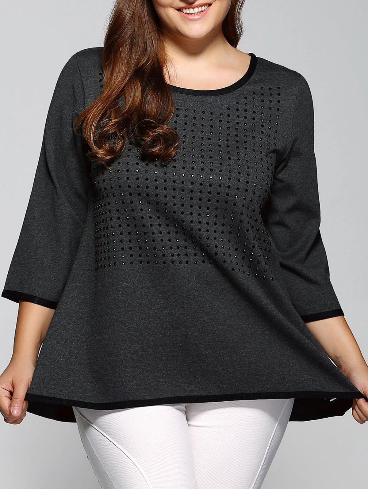 3/4 Sleeve Rhinestoned Loose Blouse - GRAY 3XL