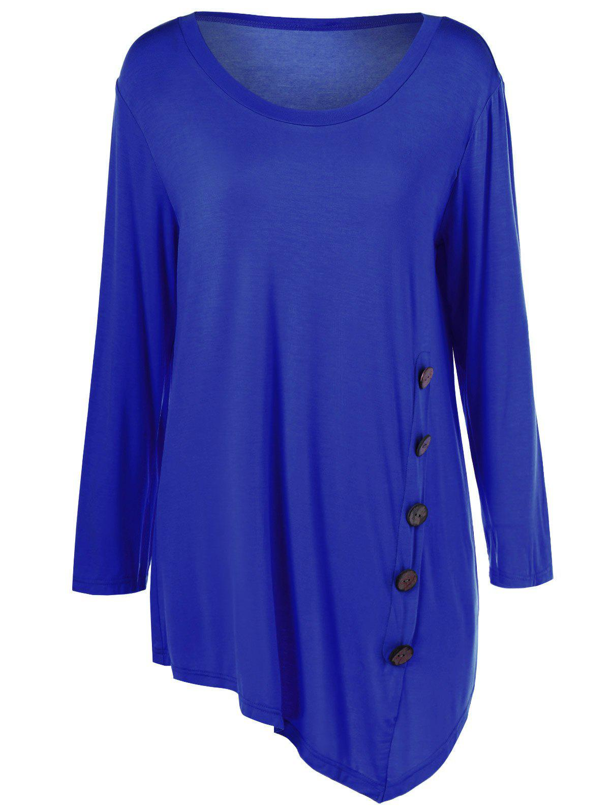 Plus Size Inclined Buttoned Blouse - BLUE 2XL