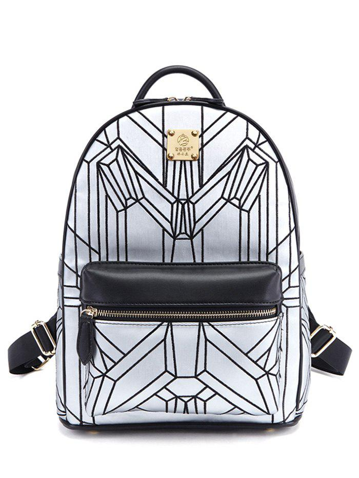 Geometric Pattern PU Leather Embroidery Backpack - SILVER/BLACK
