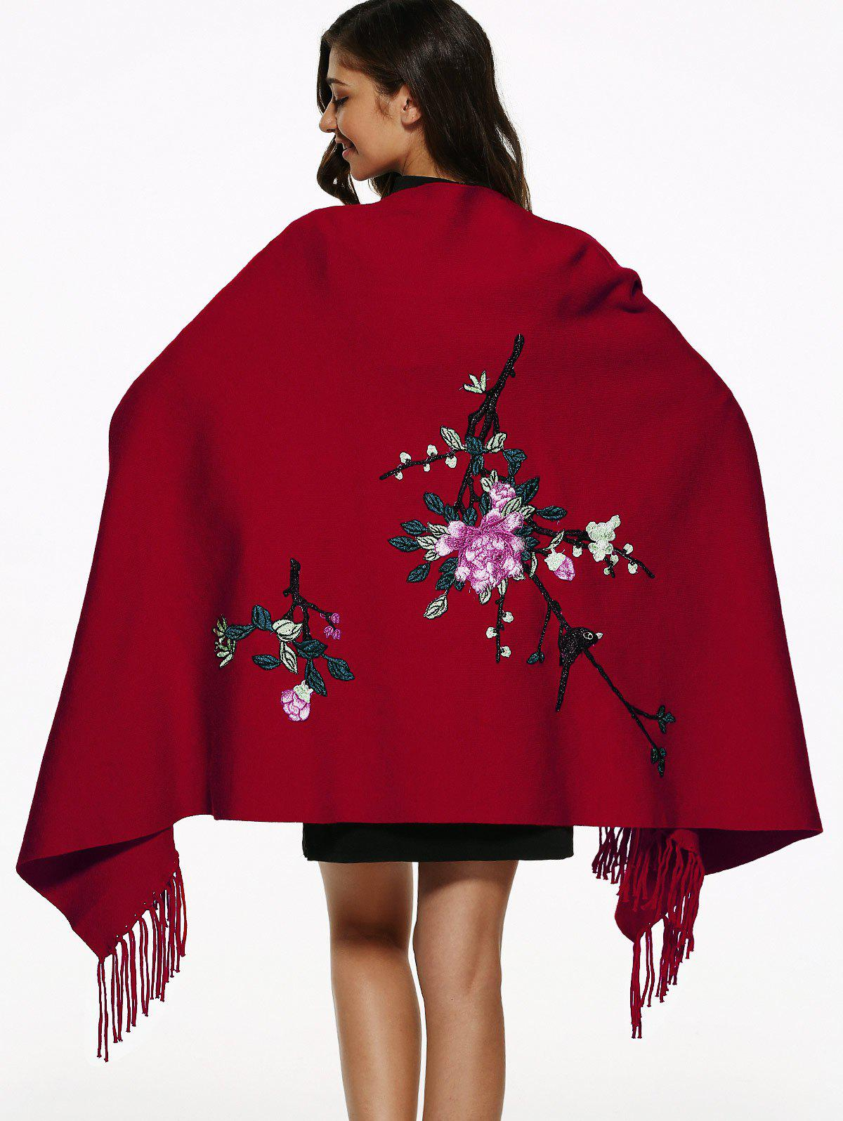 Flower Embroidery Fringed Cape - RED