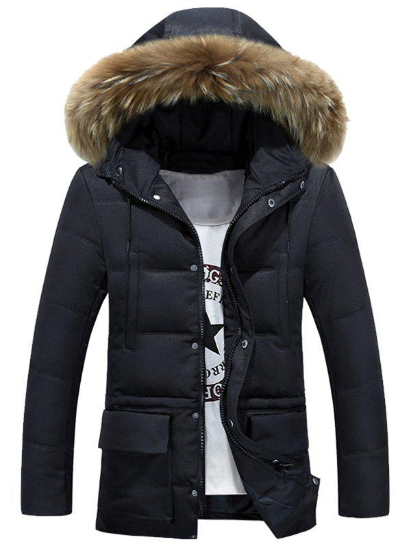 Zip-Up Fur Hooded Padded Coat
