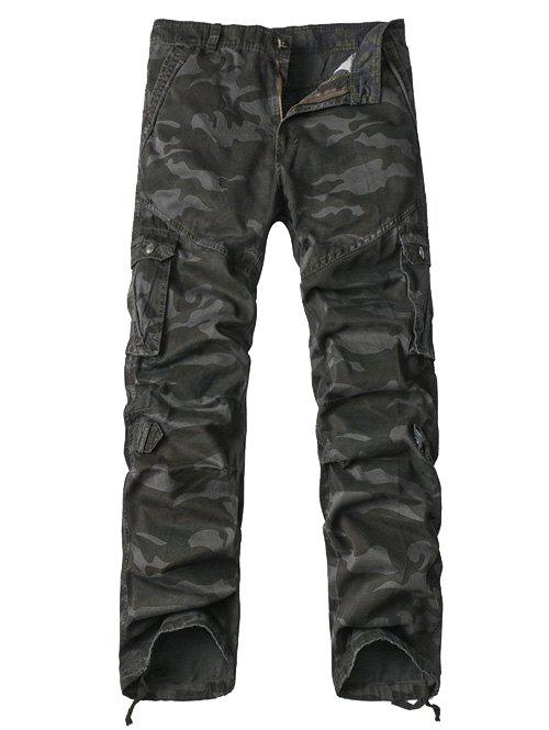 Zipper Fly Multi-Pocket Drawstring Hem Camo Cargo Pants - GRAY 38
