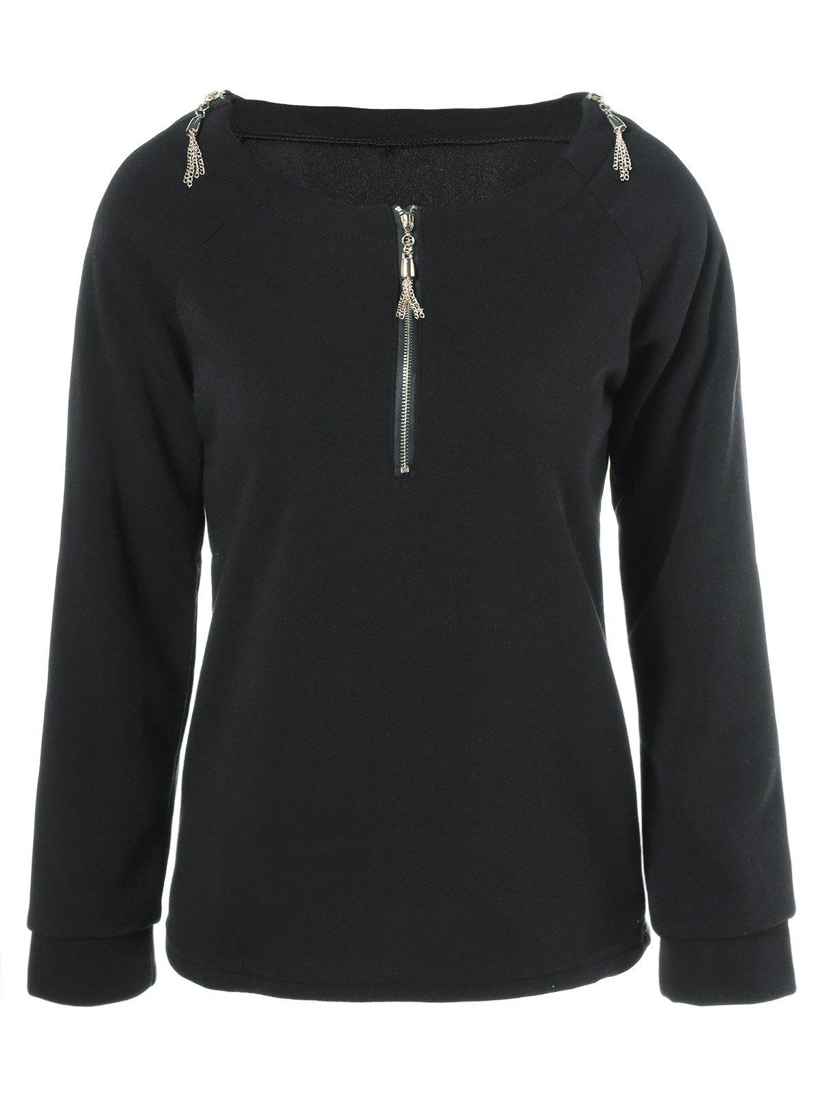 Sleeve Zipper Conception long T-shirt - Noir L
