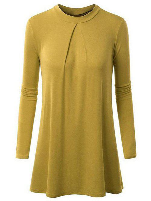 Loose fitting ruched plain t shirt deep yellow s in long for Plain yellow long sleeve t shirt