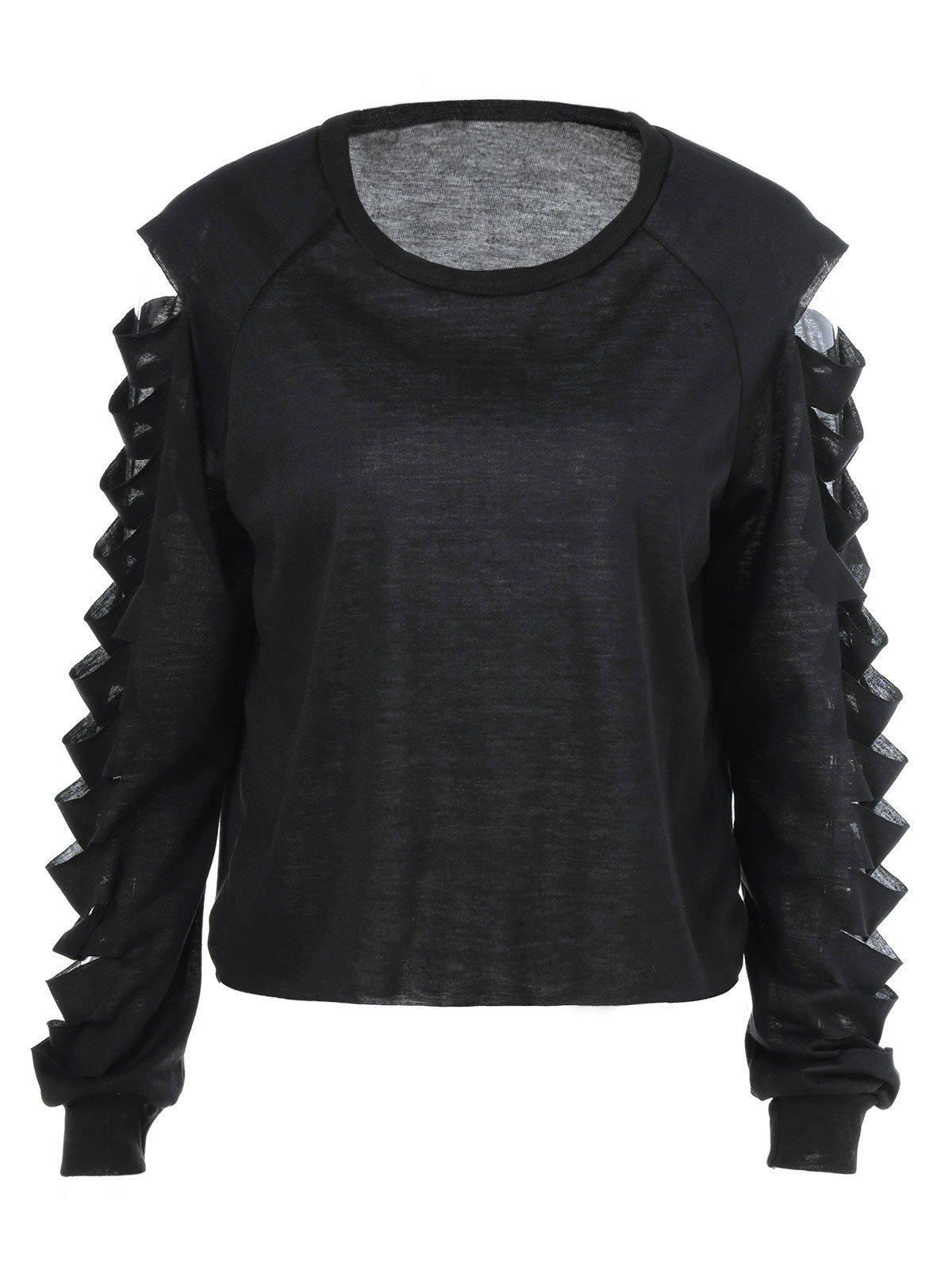 Ripped Long Sleeve T-Shirt - BLACK S