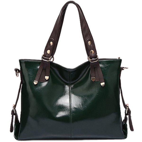Metallic Color Scissor Tote Bag - BLACKISH GREEN