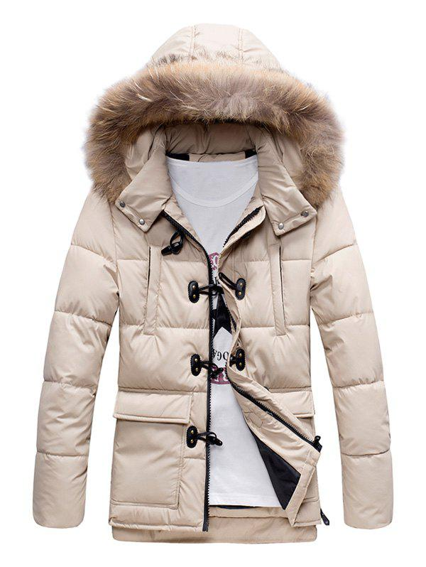 Fur Hooded Padded Duffle Coat, OFF WHITE, 3XL in Jackets & Coats ...