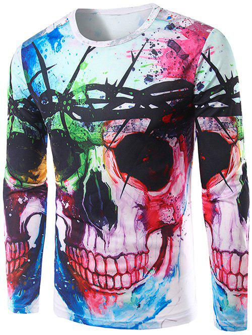 Long Sleeves Colorful Skull 3D Print T-Shirt - COLORMIX XL