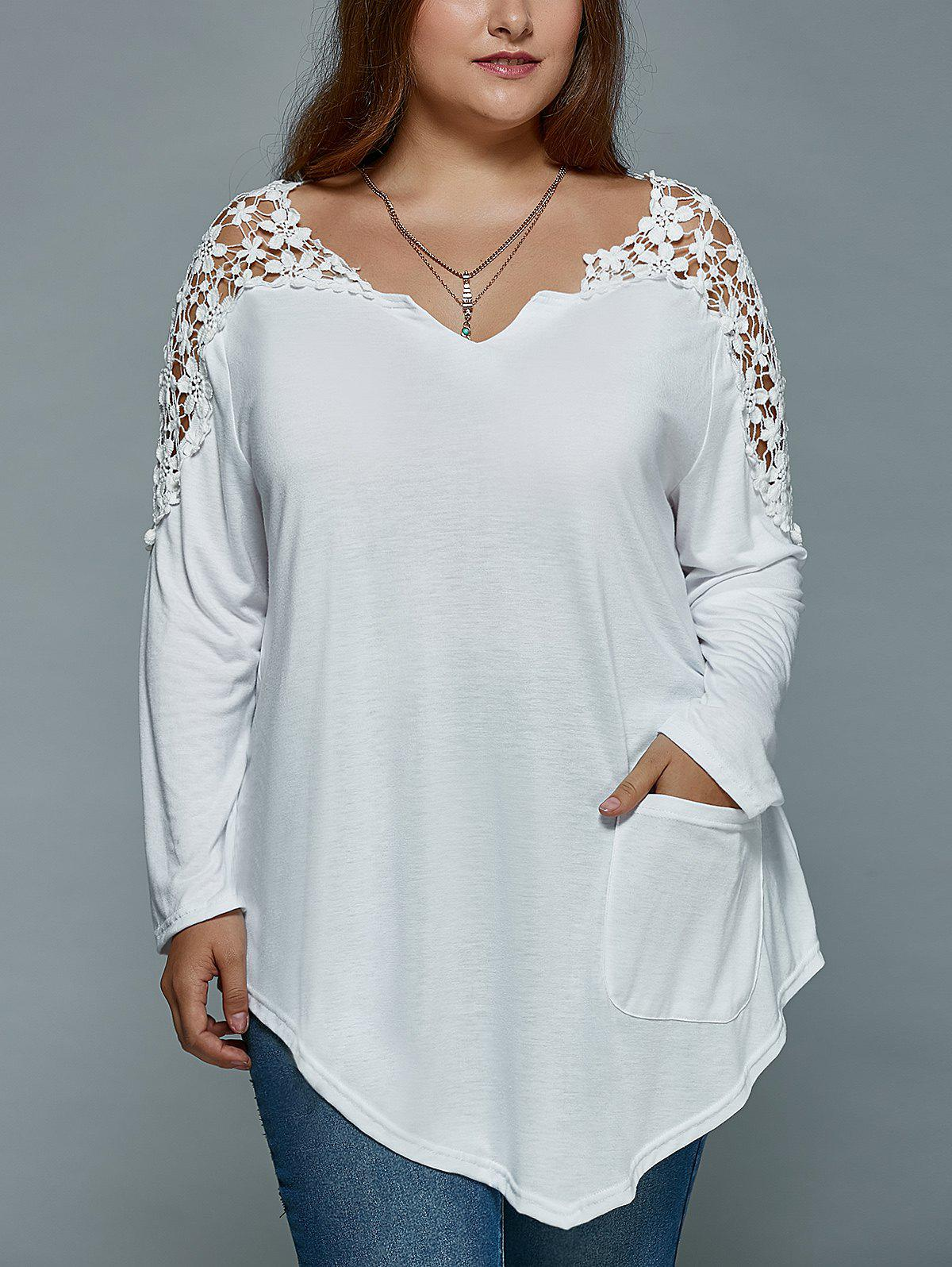 Plus Size Lace Spliced Asymmetric T-Shirt - WHITE 3XL