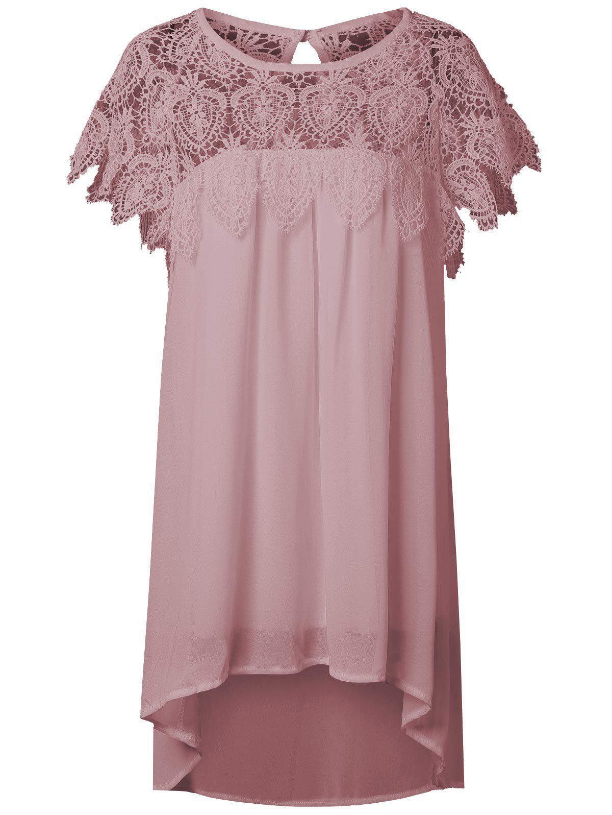Lace Panel Chiffon Tunic Shift Summer Dress - PINKBEIGE S