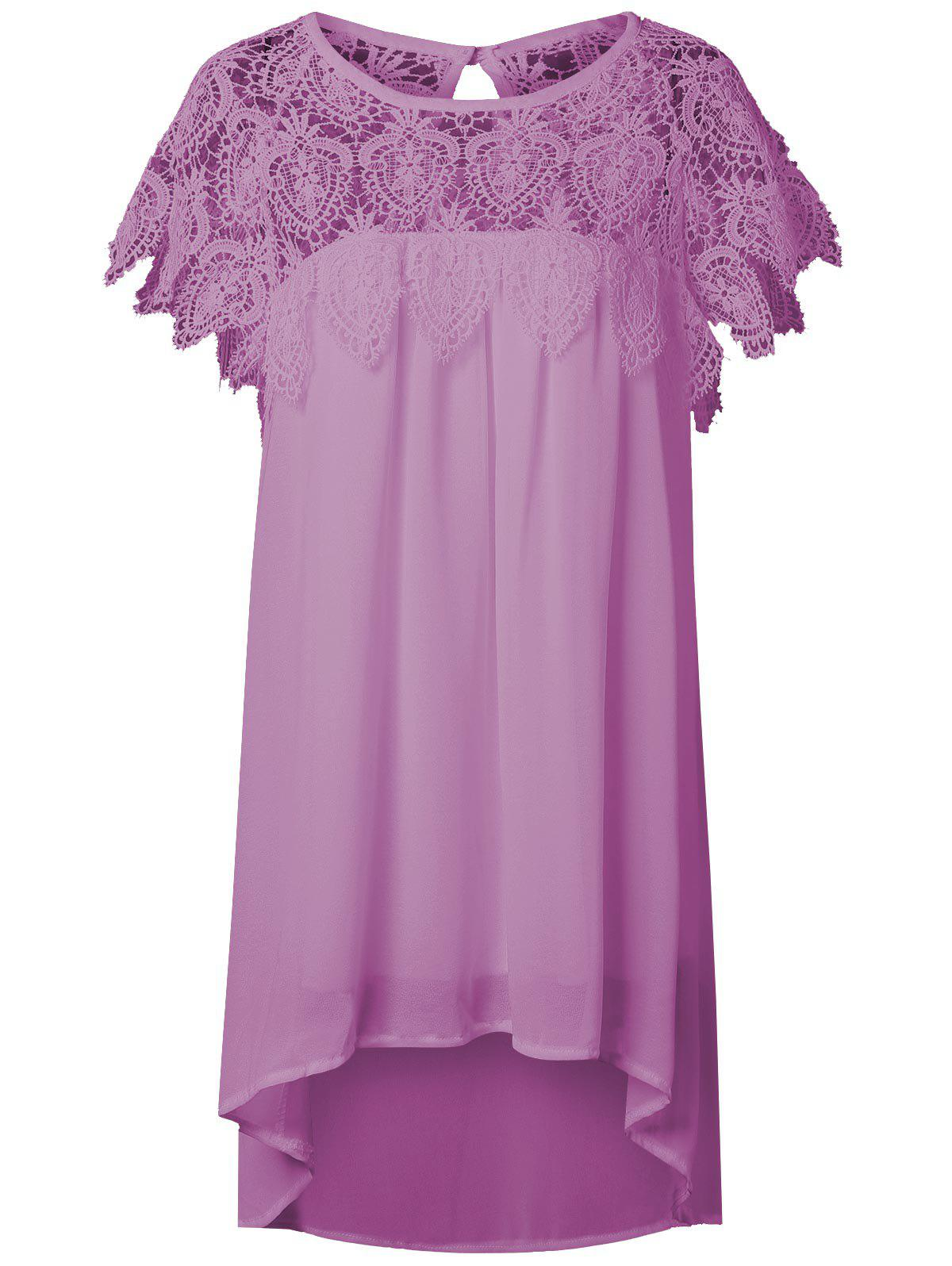 Lace Panel Chiffon Tunic Shift Summer Dress - HOT PINK S