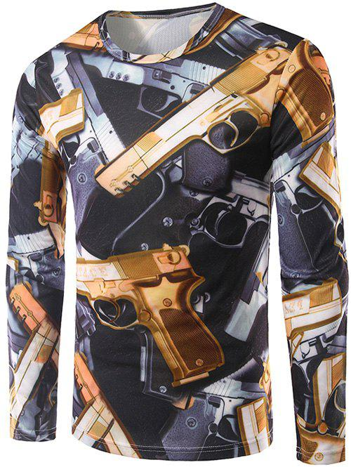 3D Guns Print Long Sleeve T-Shirt - COLORMIX M