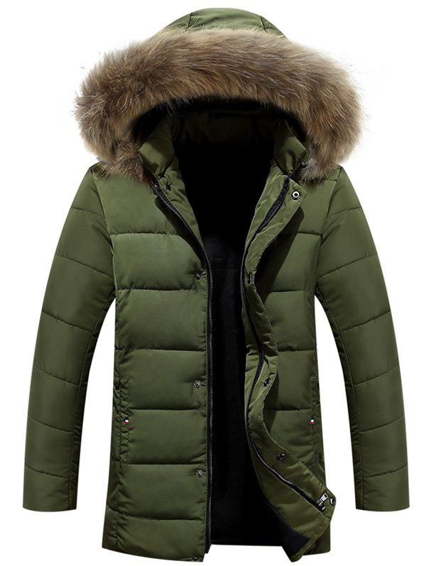 Zipper Button Fur Hooded Padded CoatMen<br><br><br>Size: L<br>Color: ARMY GREEN