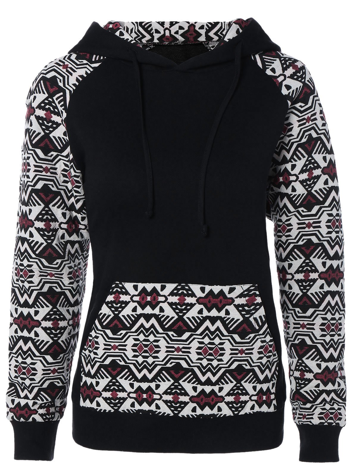 Raglan Sleeve Front Pocket Printed HoodieWomen<br><br><br>Size: 2XL<br>Color: BLACK AND WHITE AND RED