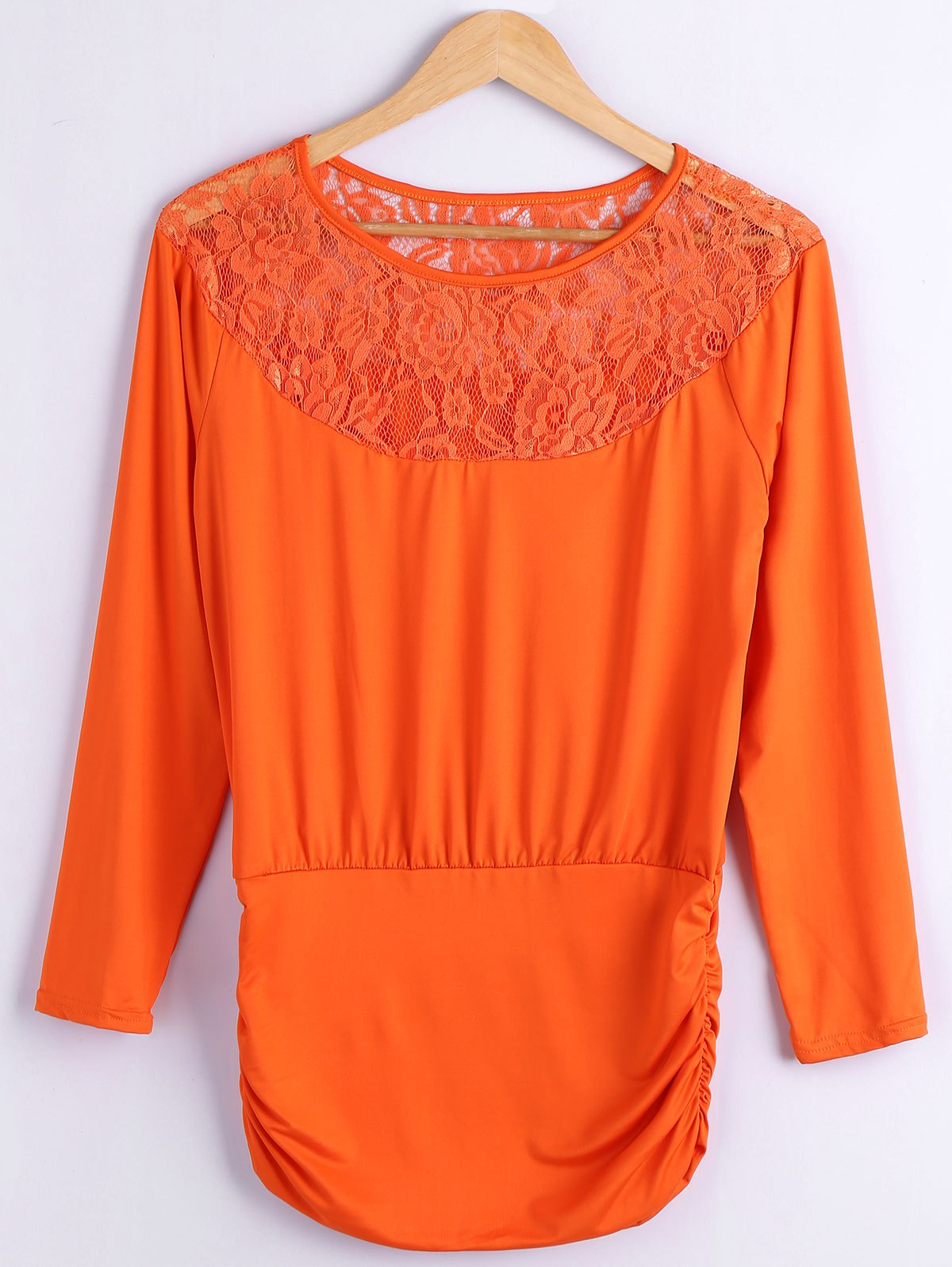Lace Spliced Fitting BlouseWomen<br><br><br>Size: S<br>Color: ORANGEPINK