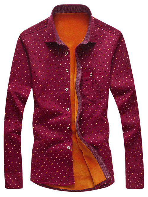 All Over Printed Long Sleeve Thermal Shirt - WINE RED M
