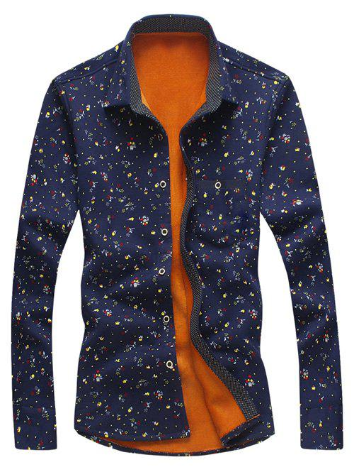 All Over Flower Printed Thermal Shirt Minuscule - Cadetblue M