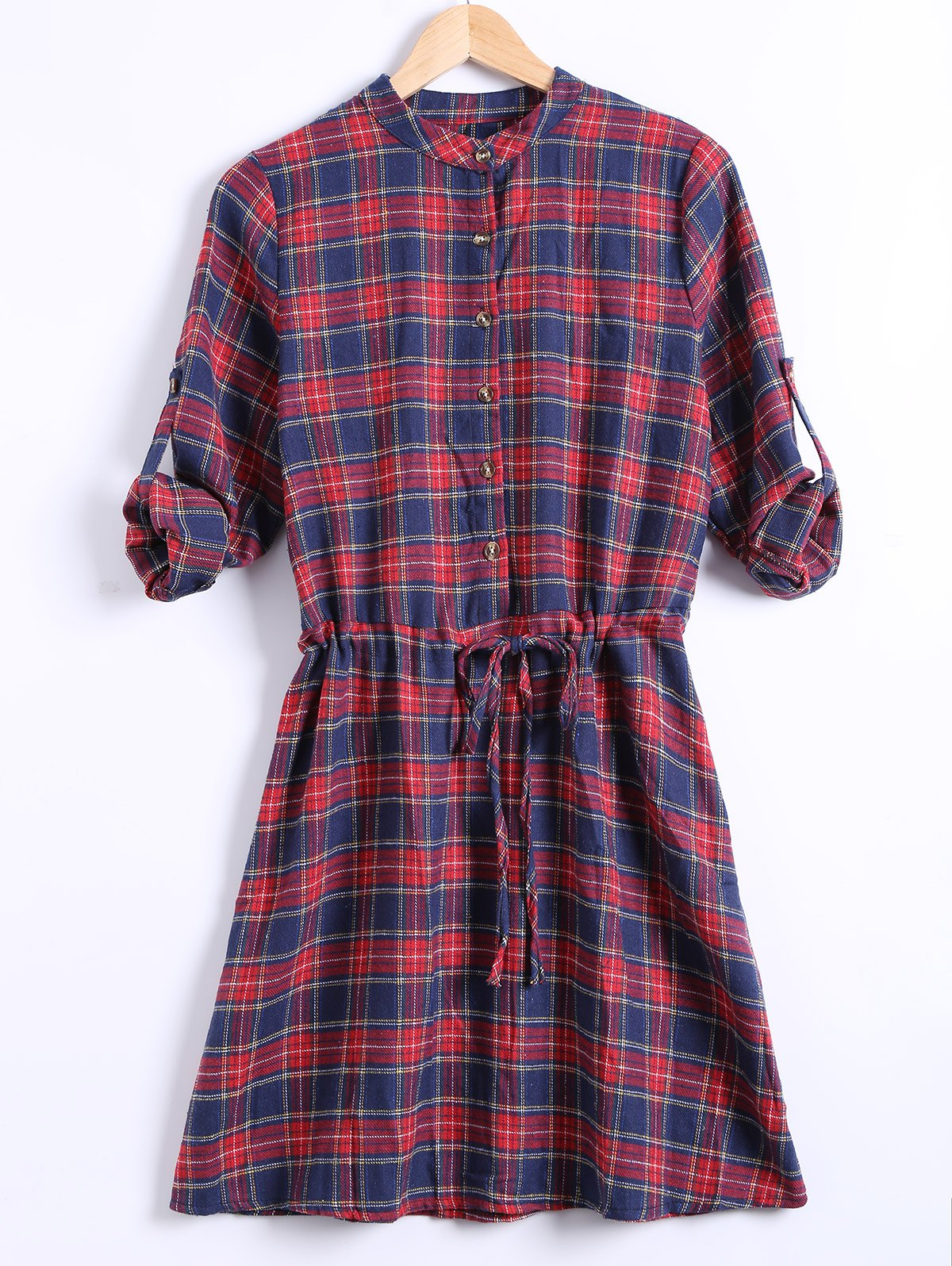 Stand Collar Checkered Print Drawstring Shirt DressWomen<br><br><br>Size: 2XL<br>Color: RED
